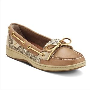Sperry linen and gold glitter angelfish boat shoes